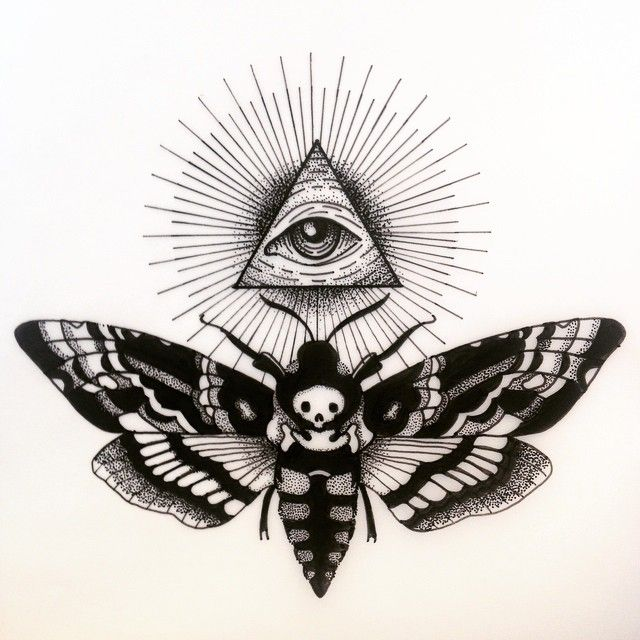 all seeing eye and moth
