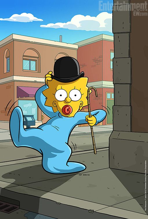 Maggie Simpson channeling Charlie Chaplin