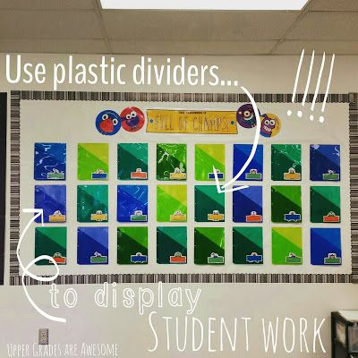 Bright Ideas: Use plastic dividers to display student work
