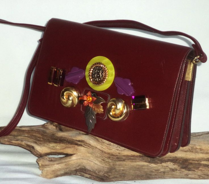 Vintage 80s New Wave Purple Red Floral Jeweled Faux Leather Shoulder Bag Purse