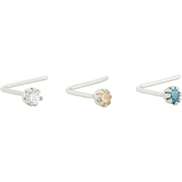 Gioelli 10k White Gold Rainbow Cubic Zirconia .22 Gauge Nose Ring Set ($26) ❤ liked on Polyvore featuring jewelry, white, cz jewelry, polish jewelry, rainbow jewelry, white jewelry and cubic zirconia jewelry