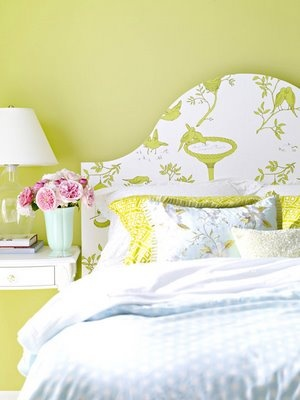 decorology: Cool and easy things to do with wallpaper other than covering the walls: Decorating Idea, Color, Wallpaper Headboard, Diy Headboards, Bedrooms, Headboard Ideas, Design, Bedroom Ideas