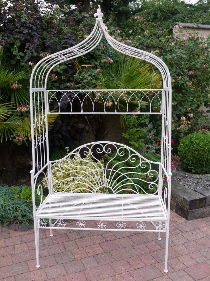 delightful Shabby Chic Vintage Style white Arch Wrought Iron Garden Bench Seat