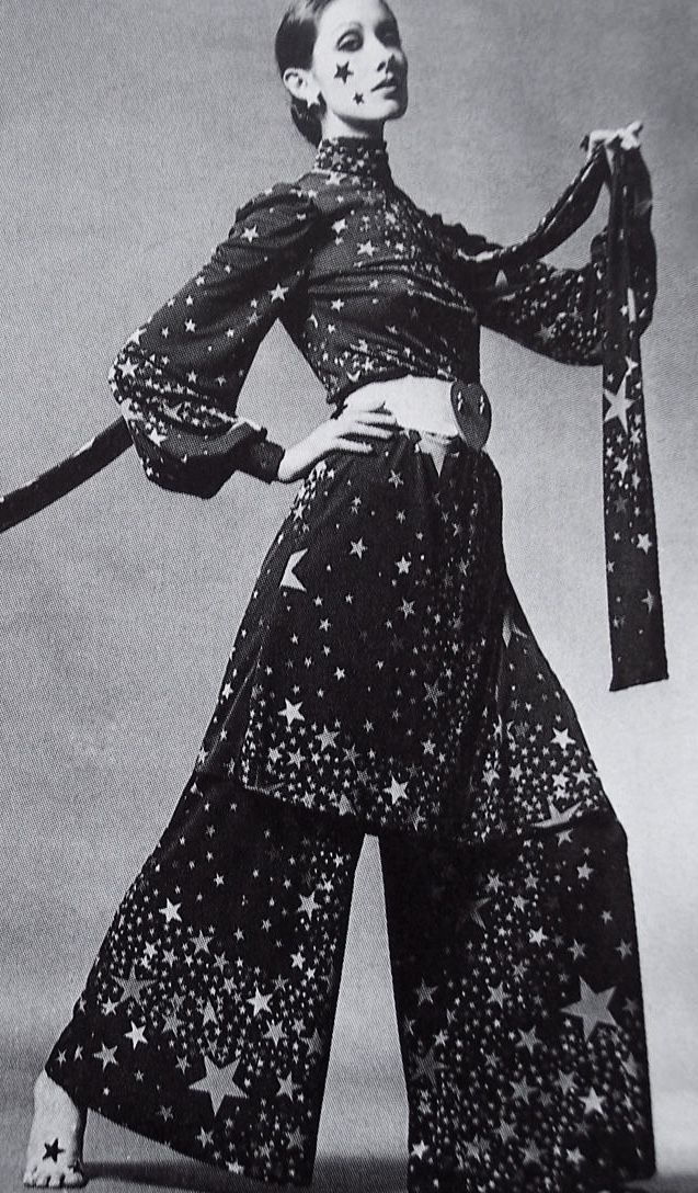 Walter Albini 1968 star print tunic dress and pants wide leg boho late 60s early 70s vintage style dramatic glam rock n roll rocker looks