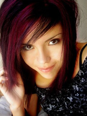 Burgundy purple highlights