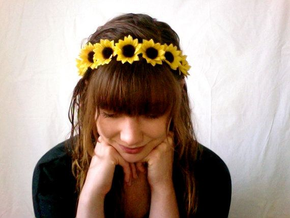 Mini silk sunflower headbands