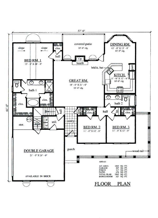 Farmhouse Style House Plan   3 Beds 2.00 Baths 1865 Sq/Ft Plan #42