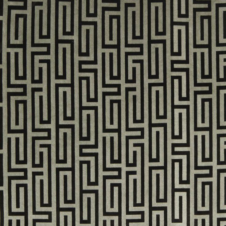 greek key velvet upholstery fabric black grey velvet drapery custom velvet pillow custom velvet curtains greek key home decor fabric