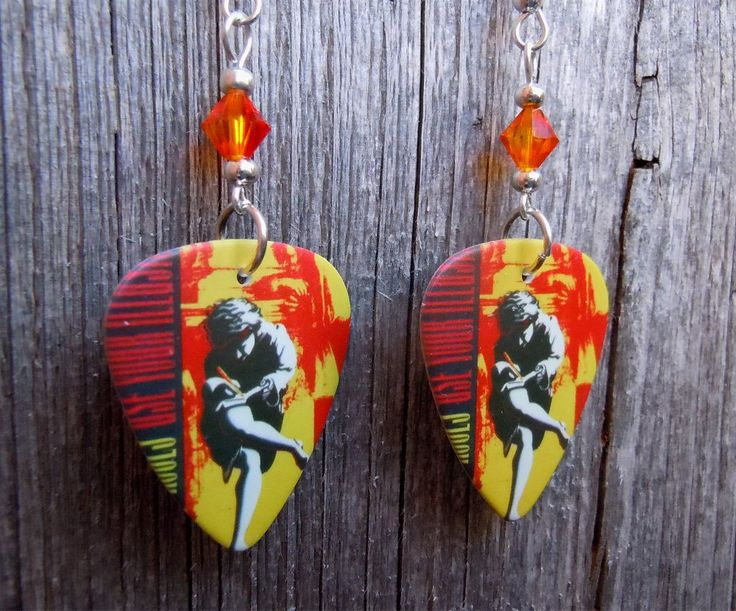 Guns n Roses Use Your Illusion I Guitar Pick Earrings with Fire Opal Crystals by ItsYourPick on Etsy