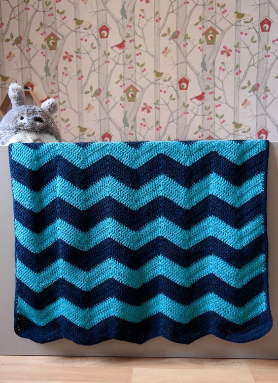 Couverture chevron au crochet (tuto)