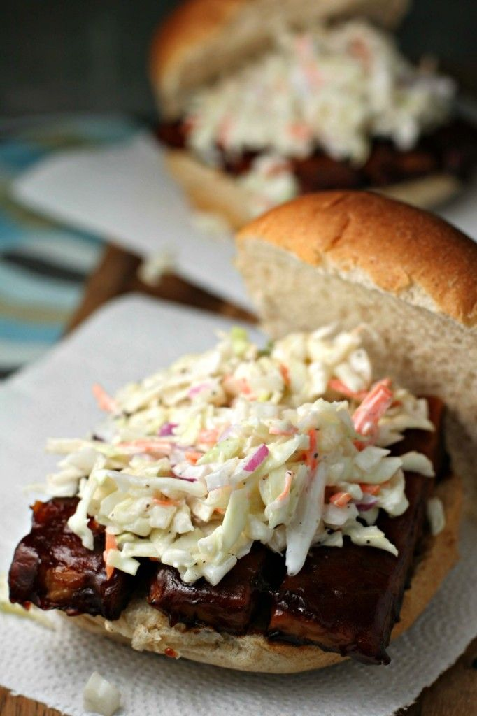 BBQ Tempeh Sandwich with Coleslaw ~vegan~