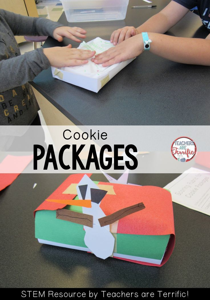 STEM Challenge! What a great way to add STEM to your busy Holiday season. Kids make packages to protect some cookies!