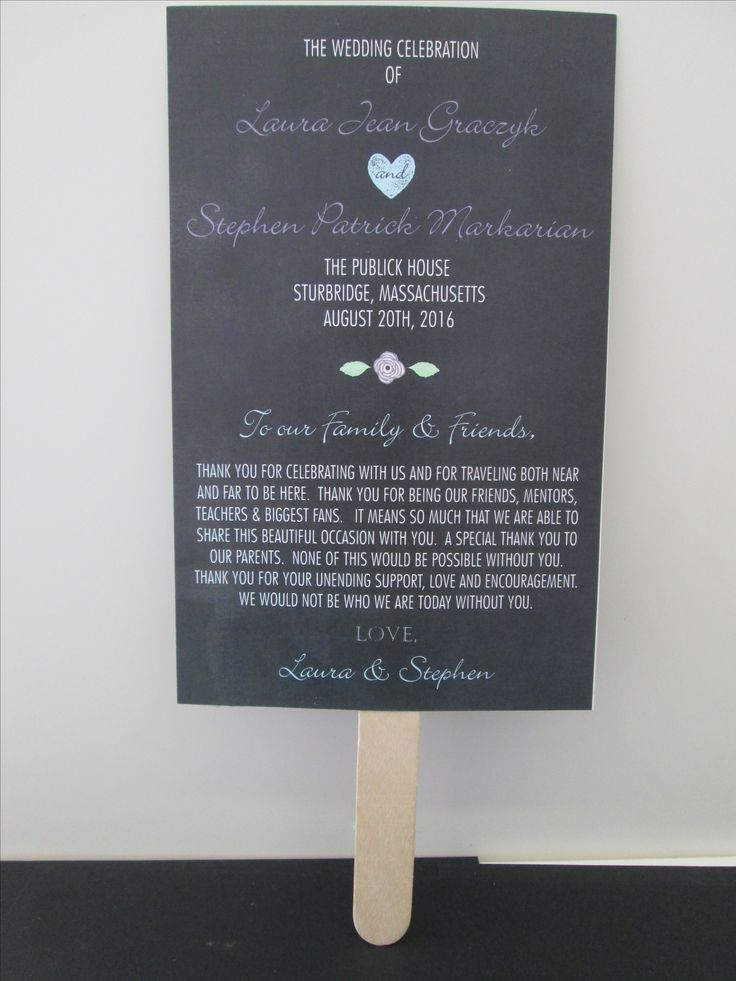 Fan wedding program with chalkboard background.