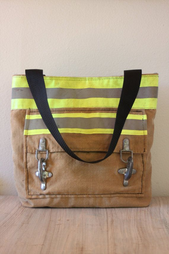 Recycled Firefighter Turnout Tote Bag with front pocket, carry all, bunker gear shopping bag, book bag 35 on Etsy, $175.00