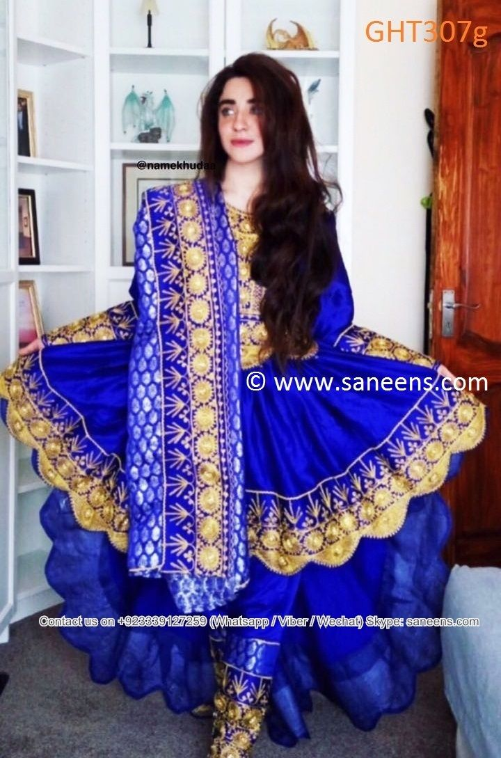 Afghan clothes in blue high low afghani dress with golden