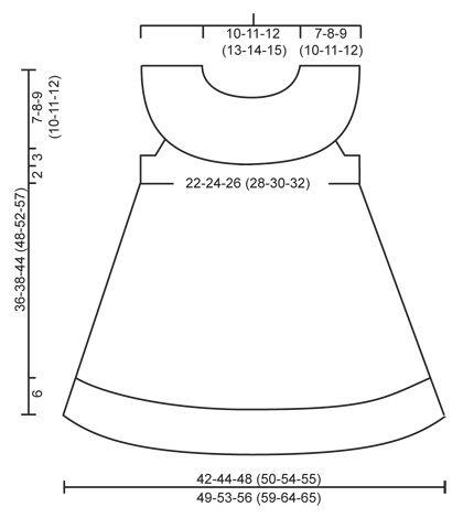 """Little Hedda - El conjunto se compone de: Vestido de punto DROPS con borde de calados y canesú redondo en """"Cotton Merino"""" y lazo en punto musgo y """"Cotton Merino"""". Talla 1 mes - 6 años - Free pattern by DROPS Design"""