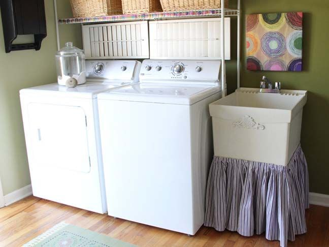 laundry sink skirt . diy . i have a large sqaure laundry room sink that is getting a fabulous diy skirt now