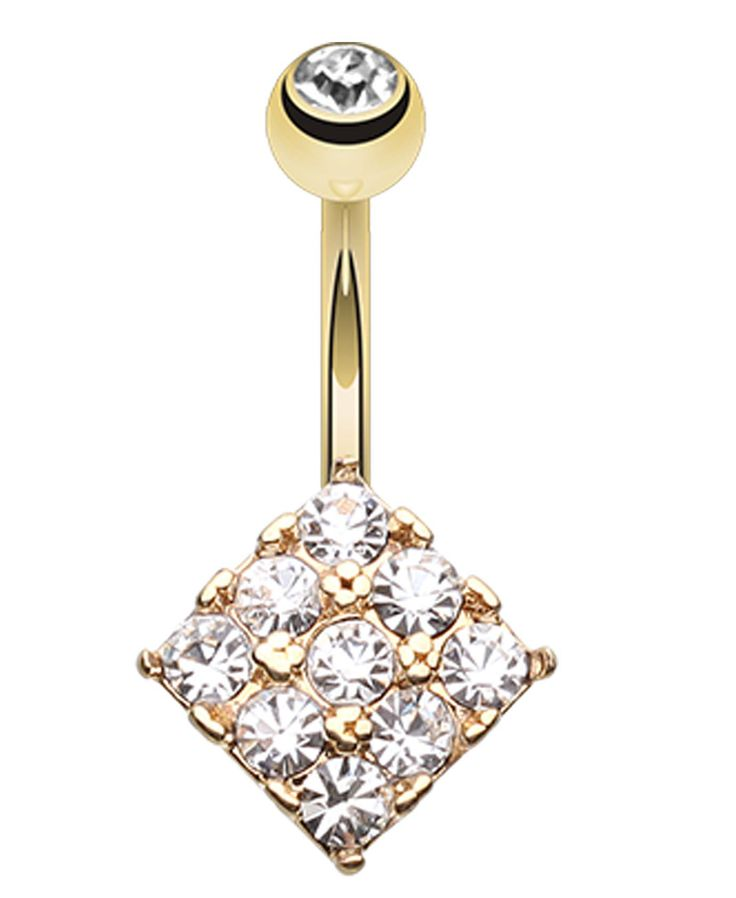 Golden Colored Sparkle Overload Belly Button Ring