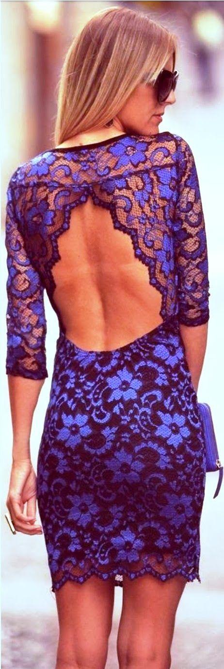 Blue Backless Lace Dress