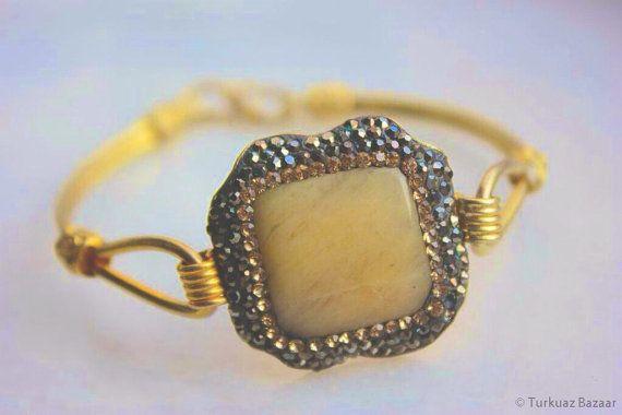 Nurgul Bracelet in Yellow Agate Stone & Swarovski by TurkuazBazaar, $80.00