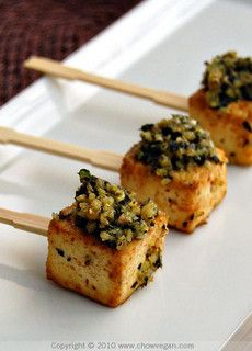 Snack Recipe: Roasted Tofu Lollipops w/ Pesto vegan recipes glutenfree snack healthy
