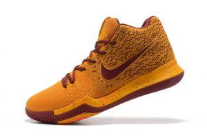 250f3ec83375 Mens Nike Kyrie 3 Flyknit Gold Red Wine Basketball Shoes