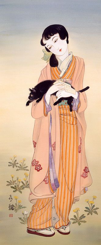 Japanese girl with her cat