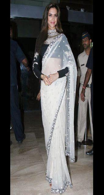Deepika Padukone in White Net Saree