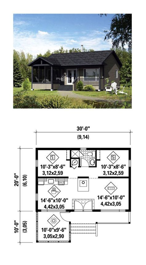 Tiny House Plan 52786 | Total Living Area: 600 sq. ft., 2 bedrooms and 1 bathroom. #tinyhome