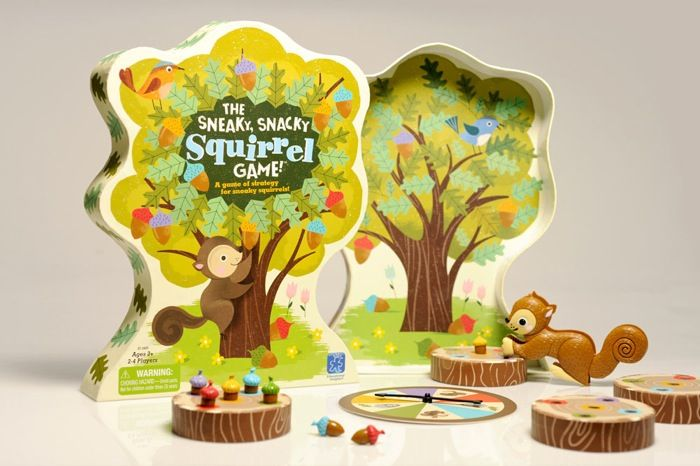 This fun packaging for an educational game, Sneaky Snacky Squirrel sure makes us want to go back to being a kid. Educational Insights in house design team worked together with a London/ Italy based illustrator to create this amazing piece.