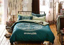 Темный голубой бежевый европа королевский печать постельных принадлежностей королева размер для взрослых домашнего декора хлопок ткань одеяло пододеяльники постельное белье(China (Mainland))