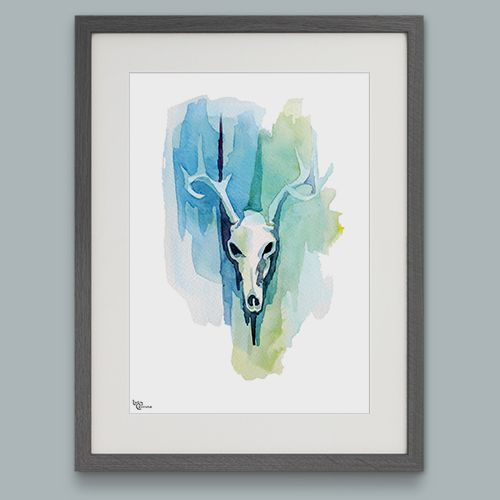 Cool Summer Antlered Stag Limited Edition Watercolour Art Print by Lucy Corrina | giftwrappedandgorg