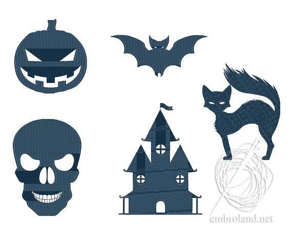 Halloween Embroidery Designs Pumpkin Bat Cat Castle Skull