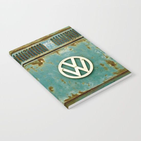VW Retro Notebook - #Society6 #VW #Volkswagen #CamperVan #Camper #Bus #Rusty #Retro #Vintage #RattyVW #Notepad #Notebook #NotepadCover #NotebookCover