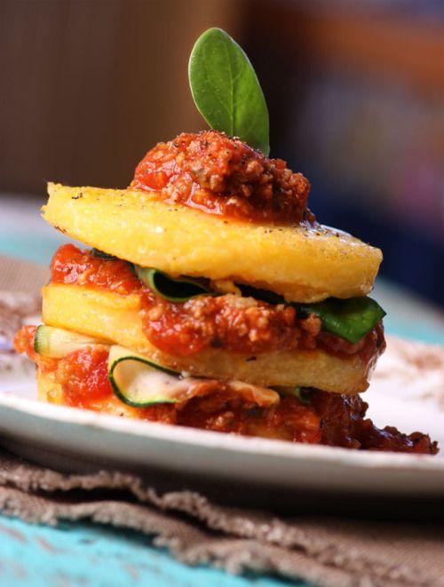 Stacked Polenta with BologneseSauce - Lexie's Kitchen | Gluten-Free Dairy-Free Egg-Free - Lexie's Kitchen
