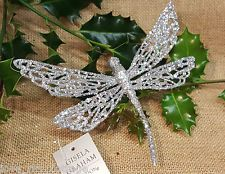 GISELA GRAHAM Christmas Tree Decoration SILVER sparkle Glitter Clip on DRAGONFLY