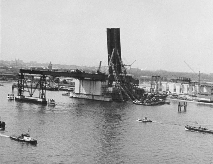 The first Brienenoordbrug being built. Rotterdam, 1961.