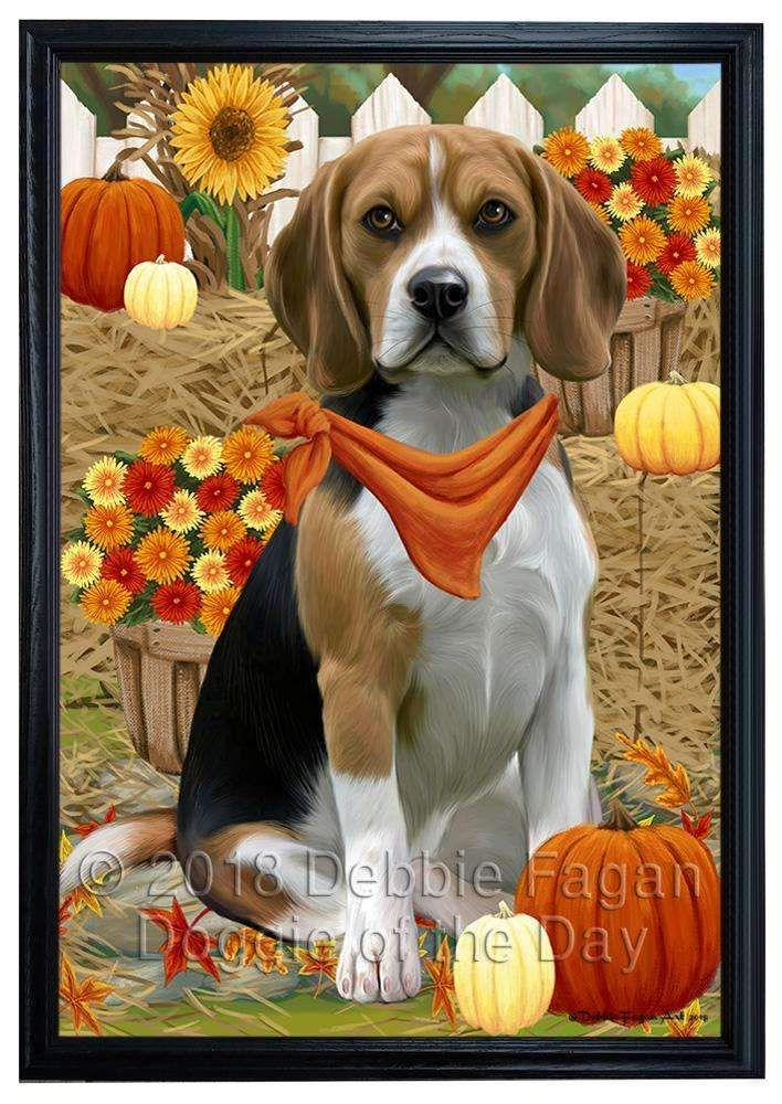 Fall Autumn Greeting Beagle Dog With Pumpkins Framed Canvas Print