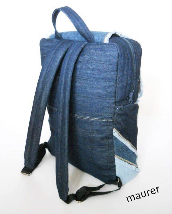 1932a931848fc Denim backpack Unusual bag Children s backpack Owl backpack Denim ...