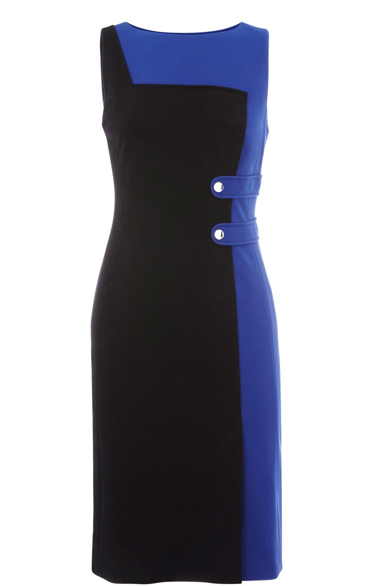 Karen Millen Colour Blocked Knit Blue Multi Dress | Vogue-trends.com