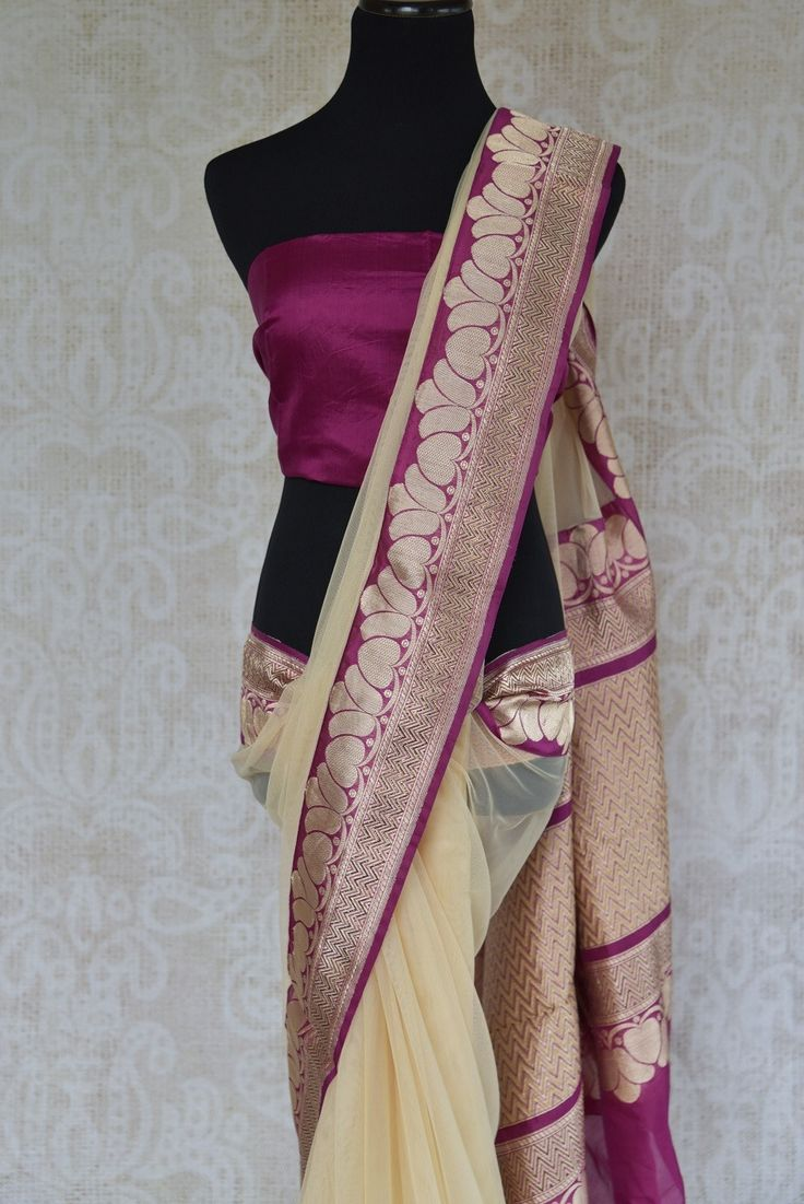 90C257 Cream Net Saree With Traditional Benarasi Border
