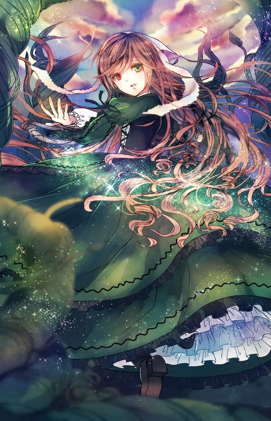 anime heterochromia / odd eyes red green (suiseiki rozen maiden)