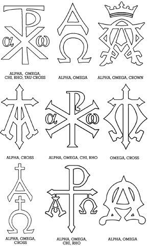 "Monograms of Jesus. A monogram is one or more letters put together to form a symbol. Monograms date back to the first century and are among Christianity's oldest symbols.  Monograms that are connected to Jesus Christ (Chi Rho, etc.) are called chrismons. The term chrismon comes from two Latin words Christi Monogramma which mean ""monogram of Christ."" Chrismon trees, a tradition started in American churches in the mid-1900's, is one way in which chrismons can be displayed in a church."