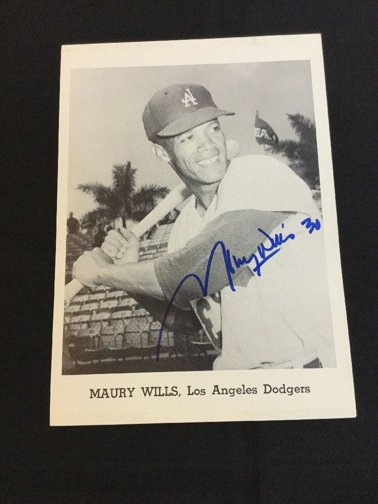 Maury Wills Autographed Team Issued Los Angeles Dodgers Photo Lifetime Guarantee #LosAngelesDodgers