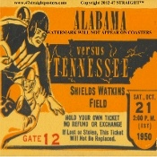 1950 Alabama vs. Tennessee football ticket coasters. The best Tennessee football gifts! 47 STRAIGHT™ #gifts #47straight