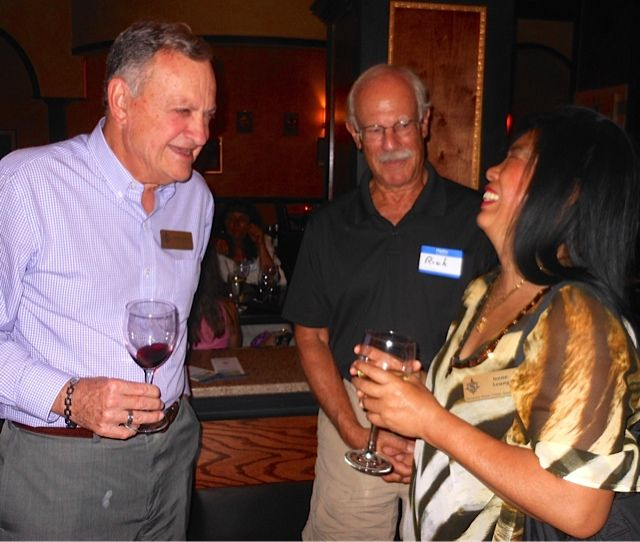 Former SCAS VP for Business Chuck Steilen, Dr, Richard Prager  & Irene Leung at the Tsunami Meet & Greet in downtown Sarasota in November 2013