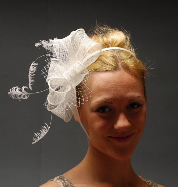 White fascinator for weddings Ascot Derby. Gorgeous by MargeIilane, $49.90