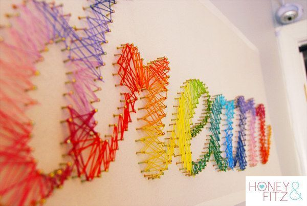 Create amazing string art to add a little colorful inspiration. | 29 Impossibly Creative Ways To Completely Transform Your Walls