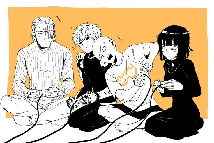 Saitama, Genos, Fubuki and King from One Punch Man