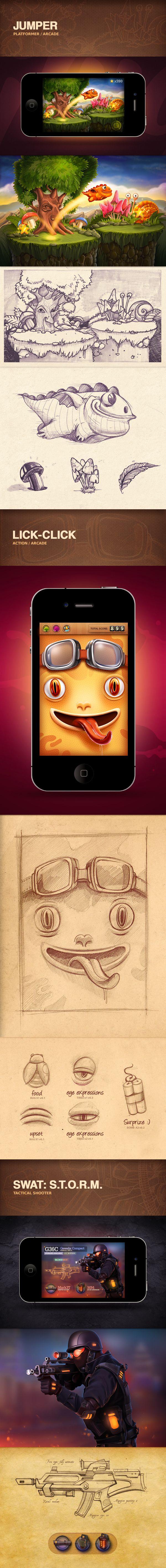Portfolio 2012-2013 | iOS Games by Mike, via Behance